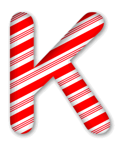 K - Candy cane letter. 3D Christmas, font, free, peppermint, stripes, candy cane, printable alphabet, letter, number, ornament, holiday, decoration, pattern, template, clipart design, vector, svg.