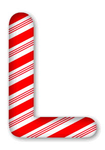 L - Candy cane letter. 3D Christmas, font, free, peppermint, stripes, candy cane, printable alphabet, letter, number, ornament, holiday, decoration, pattern, template, clipart design, vector, svg.
