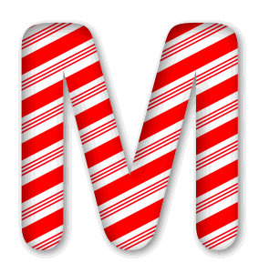 M - Candy cane letter. 3D Christmas, font, free, peppermint, stripes, candy cane, printable alphabet, letter, number, ornament, holiday, decoration, pattern, template, clipart design, vector, svg.