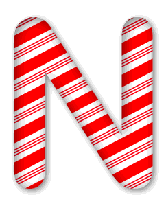 N - Candy cane letter. 3D Christmas, font, free, peppermint, stripes, candy cane, printable alphabet, letter, number, ornament, holiday, decoration, pattern, template, clipart design, vector, svg.