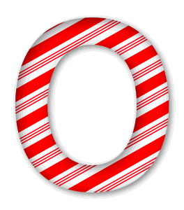 O - Candy cane letter. 3D Christmas, font, free, peppermint, stripes, candy cane, printable alphabet, letter, number, ornament, holiday, decoration, pattern, template, clipart design, vector, svg.