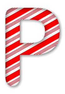 P - Candy cane letter. 3D Christmas, font, free, peppermint, stripes, candy cane, printable alphabet, letter, number, ornament, holiday, decoration, pattern, template, clipart design, vector, svg.