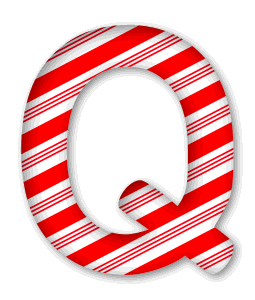 Q - Candy cane letter. 3D Christmas, font, free, peppermint, stripes, candy cane, printable alphabet, letter, number, ornament, holiday, decoration, pattern, template, clipart design, vector, svg.
