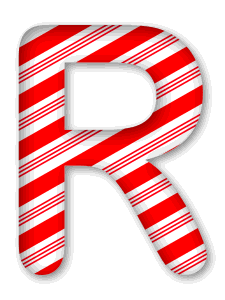 R - Christmas font. 3D Christmas, font, free, peppermint, stripes, candy cane, printable alphabet, letter, number, ornament, holiday, decoration, pattern, template, clipart design, vector, svg.