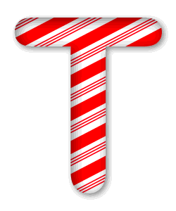 T - Christmas font. 3D Christmas, font, free, peppermint, stripes, candy cane, printable alphabet, letter, number, ornament, holiday, decoration, pattern, template, clipart design, vector, svg.