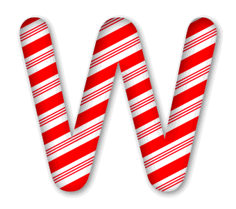 W - Christmas font. 3D Christmas, font, free, peppermint, stripes, candy cane, printable alphabet, letter, number, ornament, holiday, decoration, pattern, template, clipart design, vector, svg.