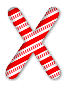 X - Christmas font. 3D Christmas, font, free, peppermint, stripes, candy cane, printable alphabet, letter, number, ornament, holiday, decoration, pattern, template, clipart design, vector, svg.