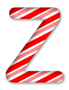 Z - Christmas font. 3D Christmas, font, free, peppermint, stripes, candy cane, printable alphabet, letter, number, ornament, holiday, decoration, pattern, template, clipart design, vector, svg.