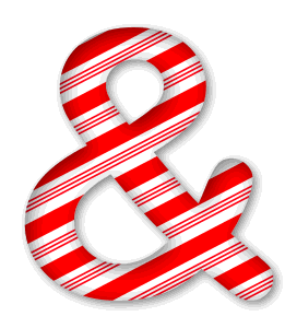 Ampersand. 3D Christmas, font, free, peppermint, stripes, candy cane, printable alphabet, letter, number, ornament, holiday, decoration, pattern, template, clipart design, vector, svg.