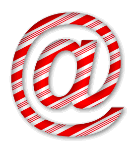 At Sign. 3D Christmas, font, free, peppermint, stripes, candy cane, printable alphabet, letter, number, ornament, holiday, decoration, pattern, template, clipart design, vector, svg.