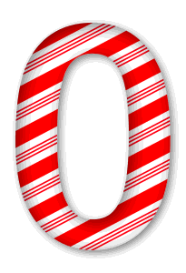 0 - Candy cane clipart.  3D Christmas, font, free, peppermint, stripes, candy cane, printable alphabet, letter, number, ornament, holiday, decoration, pattern, template, clipart design, vector, svg.