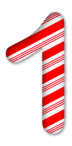 1 - Candy cane clipart.  3D Christmas, font, free, peppermint, stripes, candy cane, printable alphabet, letter, number, ornament, holiday, decoration, pattern, template, clipart design, vector, svg.