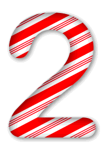 2 - Candy cane clipart. 3D Christmas, font, free, peppermint, stripes, candy cane, printable alphabet, letter, number, ornament, holiday, decoration, pattern, template, clipart design, vector, svg.
