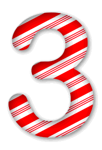 3 - Candy cane clipart. 3D Christmas, font, free, peppermint, stripes, candy cane, printable alphabet, letter, number, ornament, holiday, decoration, pattern, template, clipart design, vector, svg.