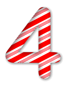 4 - Candy cane clipart. 3D Christmas, font, free, peppermint, stripes, candy cane, printable alphabet, letter, number, ornament, holiday, decoration, pattern, template, clipart design, vector, svg.