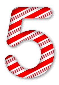 5 - Candy cane letter. 3D Christmas, font, free, peppermint, stripes, candy cane, printable alphabet, letter, number, ornament, holiday, decoration, pattern, template, clipart design, vector, svg.