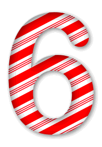 6 - Candy cane letter. 3D Christmas, font, free, peppermint, stripes, candy cane, printable alphabet, letter, number, ornament, holiday, decoration, pattern, template, clipart design, vector, svg.