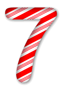 7 - Candy cane letter. 3D Christmas, font, free, peppermint, stripes, candy cane, printable alphabet, letter, number, ornament, holiday, decoration, pattern, template, clipart design, vector, svg.