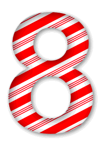 8 - Candy cane letter.  3D Christmas, font, free, peppermint, stripes, candy cane, printable alphabet, letter, number, ornament, holiday, decoration, pattern, template, clipart design, vector, svg.