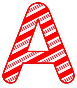 Free A - Candy cane font. Christmas, font, peppermint, stripes, candy cane, printable alphabet letters and numbers, ornament, decoration, pattern, template, clipart design, vector, svg.