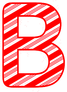 Free B - Candy cane font. Christmas, font, peppermint, stripes, candy cane, printable alphabet letters and numbers, ornament, decoration, pattern, template, clipart design, vector, svg.