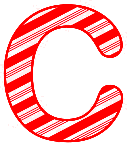 Free C - Candy cane font. Christmas, font, peppermint, stripes, candy cane, printable alphabet letters and numbers, ornament, decoration, pattern, template, clipart design, vector, svg.