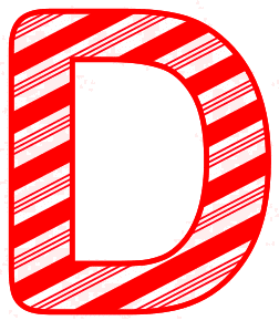 Free D - Candy cane font. Christmas, font, peppermint, stripes, candy cane, printable alphabet letters and numbers, ornament, decoration, pattern, template, clipart design, vector, svg.