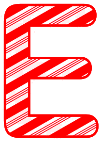 Free E - Candy cane font. Christmas, font, peppermint, stripes, candy cane, printable alphabet letters and numbers, ornament, decoration, pattern, template, clipart design, vector, svg.