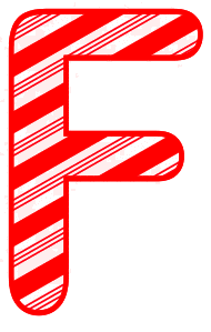 Free F - Candy cane font. Christmas, font, peppermint, stripes, candy cane, printable alphabet letters and numbers, ornament, decoration, pattern, template, clipart design, vector, svg.