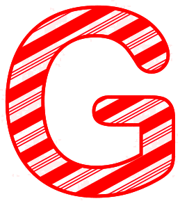 Free G - Candy cane font. Christmas, font, peppermint, stripes, candy cane, printable alphabet letters and numbers, ornament, decoration, pattern, template, clipart design, vector, svg.