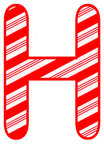 Free H - Candy cane letter. Christmas, font, peppermint, stripes, candy cane, printable alphabet letters and numbers, ornament, decoration, pattern, template, clipart design, vector, svg.