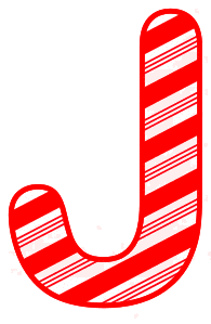 Free J - Candy cane letter. Christmas, font, peppermint, stripes, candy cane, printable alphabet letters and numbers, ornament, decoration, pattern, template, clipart design, vector, svg.