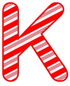 Free K - Candy cane letter. Christmas, font, peppermint, stripes, candy cane, printable alphabet letters and numbers, ornament, decoration, pattern, template, clipart design, vector, svg.
