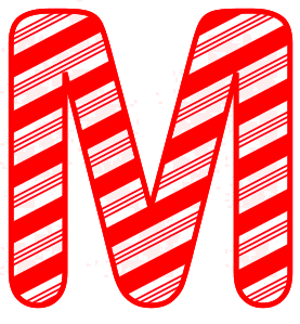 Free M - Candy cane letter. Christmas, font, peppermint, stripes, candy cane, printable alphabet letters and numbers, ornament, decoration, pattern, template, clipart design, vector, svg.