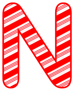 Free N - Candy cane letter. Christmas, font, peppermint, stripes, candy cane, printable alphabet letters and numbers, ornament, decoration, pattern, template, clipart design, vector, svg.