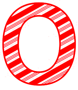 Free O - Candy cane letter. Christmas, font, peppermint, stripes, candy cane, printable alphabet letters and numbers, ornament, decoration, pattern, template, clipart design, vector, svg.
