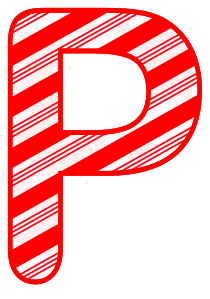 Free P - Candy cane letter. Christmas, font, peppermint, stripes, candy cane, printable alphabet letters and numbers, ornament, decoration, pattern, template, clipart design, vector, svg.