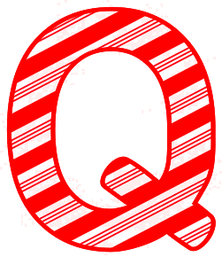 Free Q - Candy cane letter. Christmas, font, peppermint, stripes, candy cane, printable alphabet letters and numbers, ornament, decoration, pattern, template, clipart design, vector, svg.