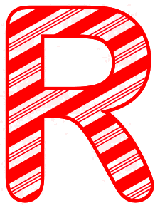 Free R - Christmas font. Christmas, font, peppermint, stripes, candy cane, printable alphabet letters and numbers, ornament, decoration, pattern, template, clipart design, vector, svg.
