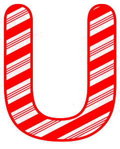 Free U - Christmas font. Christmas, font, peppermint, stripes, candy cane, printable alphabet letters and numbers, ornament, decoration, pattern, template, clipart design, vector, svg.