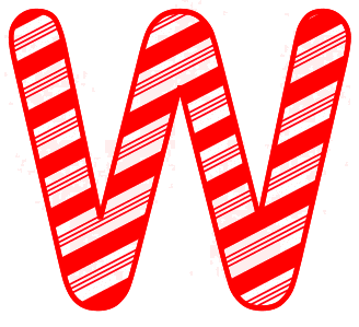 Free W - Christmas font. Christmas, font, peppermint, stripes, candy cane, printable alphabet letters and numbers, ornament, decoration, pattern, template, clipart design, vector, svg.