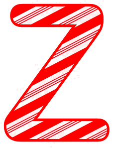 Free Z - Christmas font. Christmas, font, peppermint, stripes, candy cane, printable alphabet letters and numbers, ornament, decoration, pattern, template, clipart design, vector, svg.