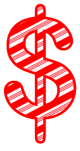Free Dollar sign. Christmas, font, peppermint, stripes, candy cane, printable alphabet letters and numbers, ornament, decoration, pattern, template, clipart design, vector, svg.
