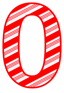 Free 0 - Candy cane clipart.  Christmas, font, peppermint, stripes, candy cane, printable alphabet letters and numbers, ornament, decoration, pattern, template, clipart design, vector, svg.