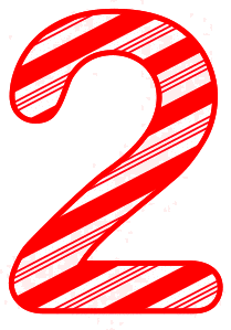 Free 2 - Candy cane clipart. Christmas, font, peppermint, stripes, candy cane, printable alphabet letters and numbers, ornament, decoration, pattern, template, clipart design, vector, svg.