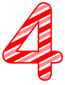 Free 4 - Candy cane clipart. Christmas, font, peppermint, stripes, candy cane, printable alphabet letters and numbers, ornament, decoration, pattern, template, clipart design, vector, svg.