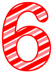 Free 6 - Candy cane letter. Christmas, font, peppermint, stripes, candy cane, printable alphabet letters and numbers, ornament, decoration, pattern, template, clipart design, vector, svg.