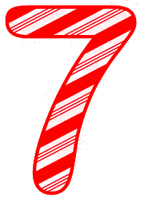 Free 7 - Candy cane letter. Christmas, font, peppermint, stripes, candy cane, printable alphabet letters and numbers, ornament, decoration, pattern, template, clipart design, vector, svg.