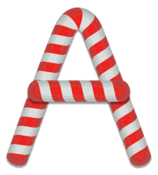 A - Candy cane. Free printable candy cane stripes, font, alphabet letters and numbers, christmas, clipart, downloadable.