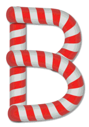 B - Candy cane. Free printable candy cane stripes, font, alphabet letters and numbers, christmas, clipart, downloadable.